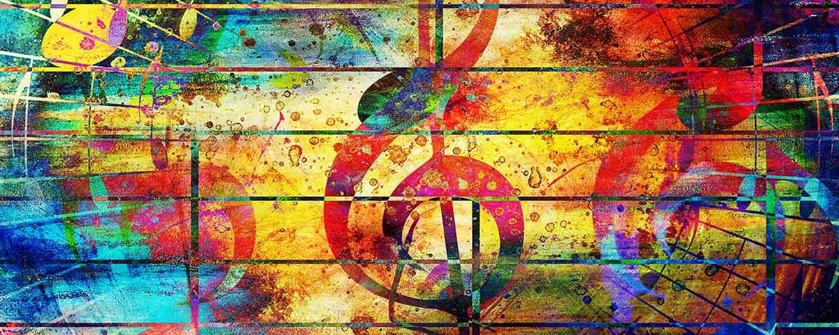 colorful painting of music notes