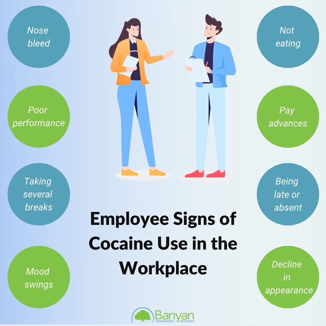 Signs of cocaine use in the workplace