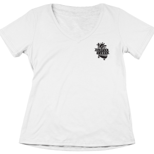 Ladies Left Chest Heart V-Neck T Shirt
