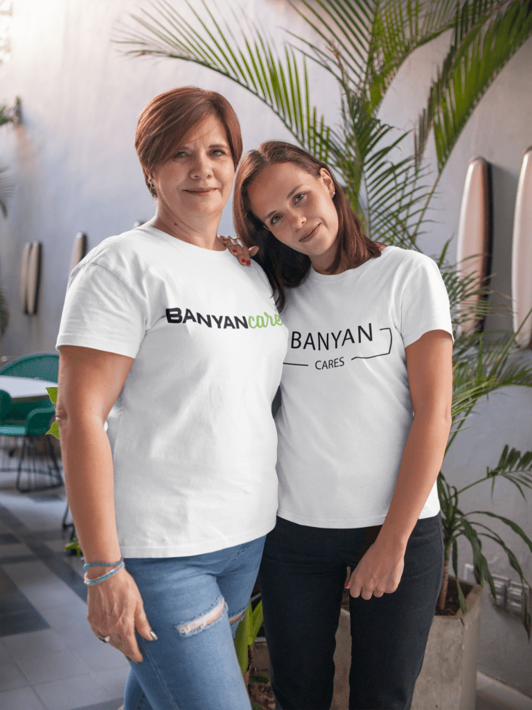Mom and Daughter wearing Banyan Cares T-Shirts